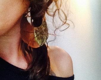 Copper earrings, green earrings, moon earrings, handmade earrings, art jewelry, oxidized copper, hoop earrings, hammered copper earrings