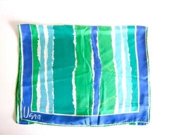 Vintage Vera Neumann scarf, blue  and green striped silk, women's accessories, 1970's