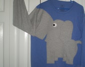 Long sleeve elephant t-shirt with a sleeve trunk, blue heather, adult size large elephant shirt