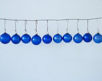 Amazing Set of 10 Elecrtic Blue Small Vintage Christmas Glass Ornaments