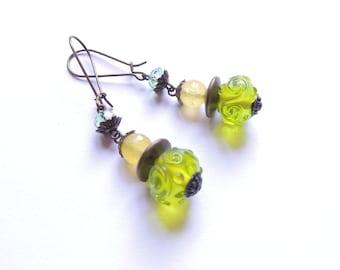 Yellow Green Lampwork Earrings. Antique Bronze Earrings. Long Dangle Earrings. Handmade Earrings. Handcrafted Jewelry.