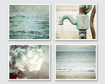 Bathroom Art Set - Teal Bathroom Decor - Beach Bathroom - Aqua Bathroom Decor - Cottage Bathroom Art for Powder Room - Print or Canvas Art.