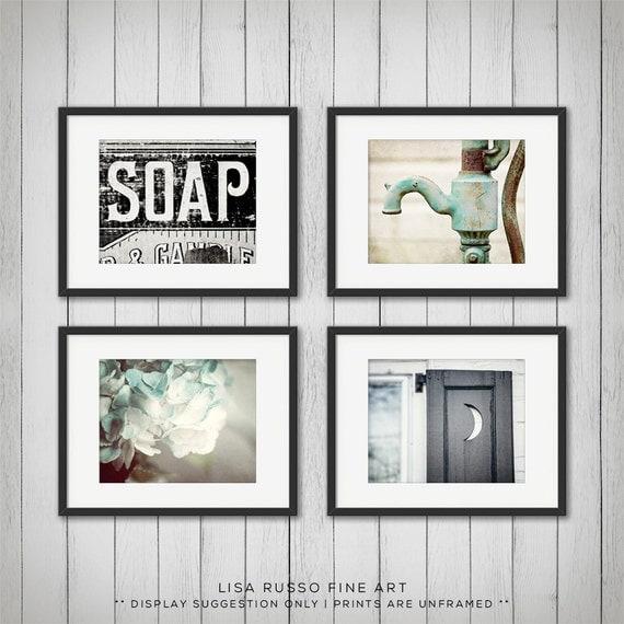 Bathroom Art Print Set Of 4: Rustic Bathroom Decor Set Of 4 Prints Bathroom By