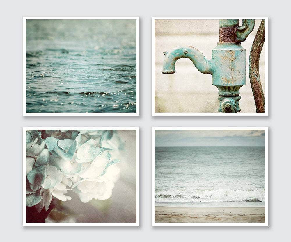 Bathroom art set teal bathroom decor beach bathroom aqua for Aqua blue bathroom accessories