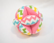 Puzzle Ball Handmade for Baby in Girly Chevron