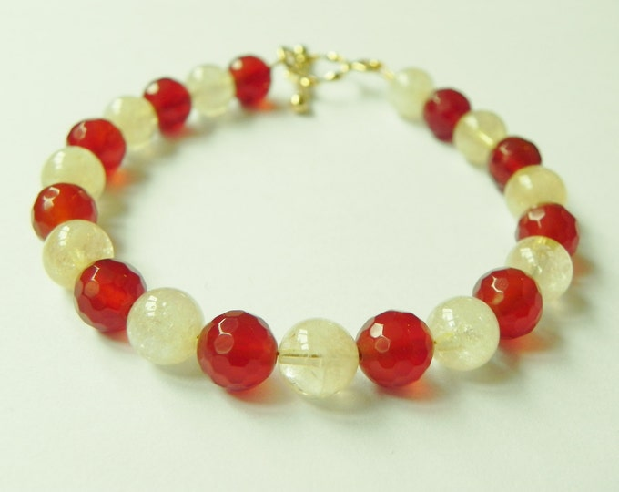 """Carnelian and citrine gemstone bracelet with gold plated sterling silver toggle clasp, red, yellow, 7.5"""""""