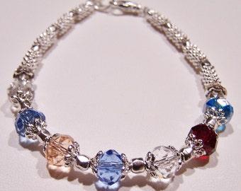 Birthstone Bracelet Mothers Grandmothers Swarovski Family bracelet