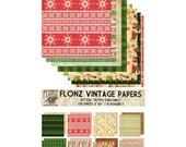 "Scrapbooking Craft Paper Pack (24pcs 6""x6"") FLONZ 020 Retro Christmas"
