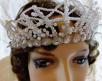 Vintage beaded wedding headpeice pearls sequins flapper romantice tiara