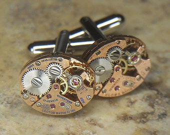 Steampunk Cufflinks Cuff Links - Torch SOLDERED - Antique ROSE Gold Oval Watch Movements - Wedding, Anniversary Gift - Petite Set