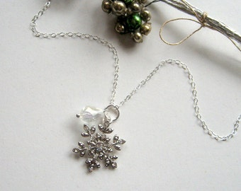 Frozen Sterling Silver Snowflake and Teardrop Crystal Necklace - Enchanted Petite - Winter necklace, snow, holiday necklace, sparkle, ooak