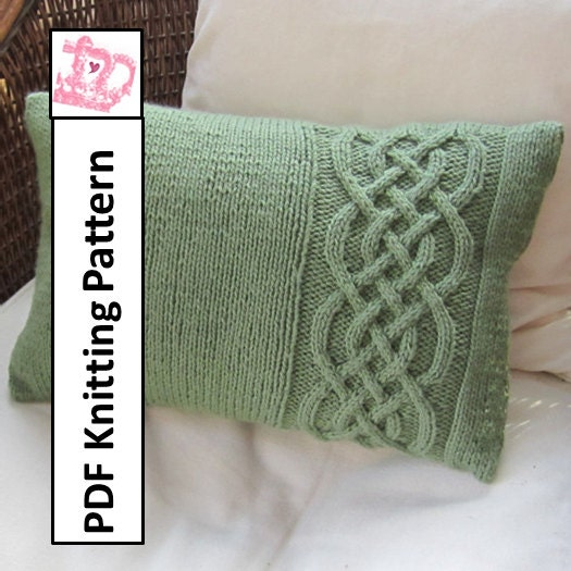 knit pattern pdf Celtic knot cable knit pillow cover in 4