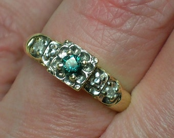 Vintage Engagement Ring, Blue Diamond. Floral Illusion Head, 1950s Style Yellow Gold