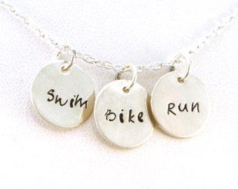 Swim Bike Run Triathlon Necklace in Sterling Silver - Sports Jewelry