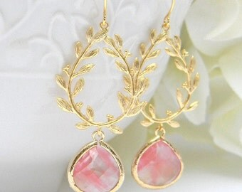 Coral Bridesmaid Earrings, Wedding Jewelry, Coral and Gold Earrings, Dangle Earrings, Gift For Her, Gift For Mom, Bridesmaid Gift