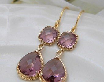 Plum Earrings / Plum and Gold Earrings / Dangle Earrings /  Wedding Earrings / Bridesmaid Gift / Bridesmaind Earrings / Gift For Her