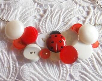 Ladybug Button Necklace