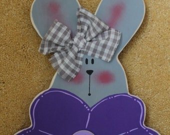 Wooden Bright Purple Flower and Bunny Sign
