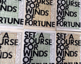 Kansas/ Set A Course for Winds of Fortune/ Real Letterpress Print on Antique Atlas Page