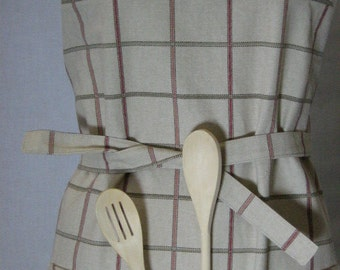 Checkered Apron, His & Hers Apron, Size M, Apron with Pocket, Checkered Apron, Cotton Apron, Oatmeal Red Rust Olive, Gift under 50