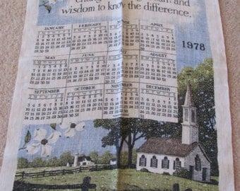 Retro Calendar Irish Linen Kitchen Towel - Year 1978