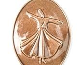 Vintage Sufi Whirling Dervish Ceramic Oval Wall Décor Hanging Plate Plaque Mevlana Brown Pottery Sema Semazen Rumi Figure Meditation Dance