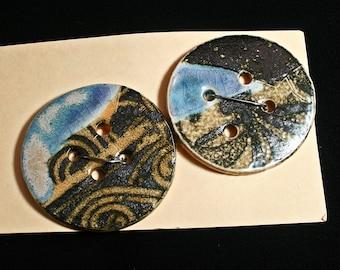 Handmade porcelain buttons, Black graphic, Sewing, Craft, Weaving, Knitting, Designer, Blue glaze, Unique, Felting, Hand made, OOAK(eb272)