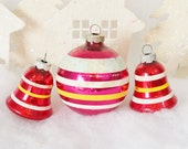 Red Shiny Brite Vintage Christmas Ornaments Bells Striped Set of 3 Three Aqua White Yellow 1950's