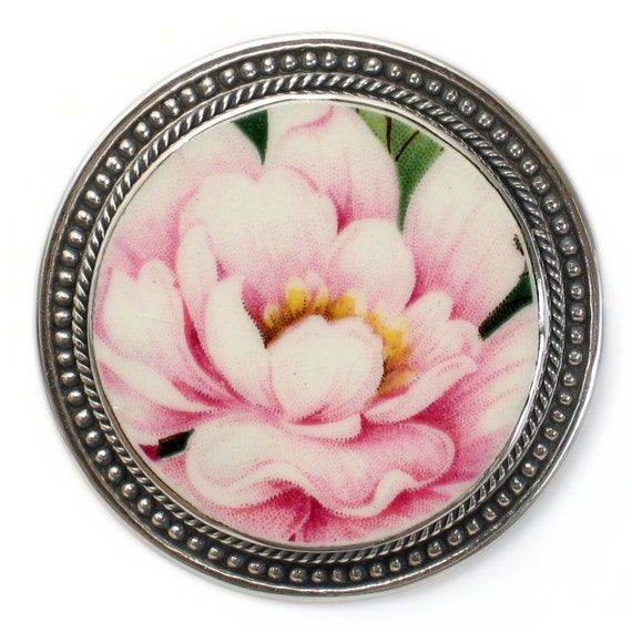 Broken China Jewelry Pink Peony Flower Sterling Circle Pin Brooch