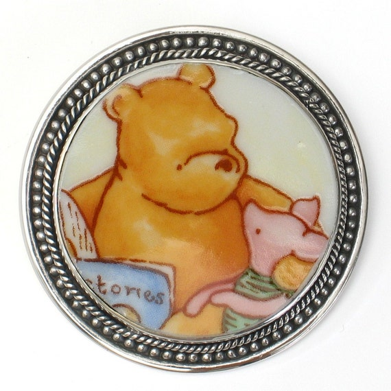 Broken China Jewelry Classic Pooh and Piglet Sterling Brooch Pin Pendant