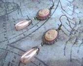 Cameo earrings, dangle earrings, shabby chic jewelry, shabby chic earrings, pink earrings, cameo jewelry
