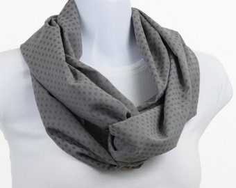 Long Infinity Scarf - Classic Gray withDark Gray Polka Dots ~ SH235-L5