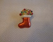 Vintage Christmas Stocking Brooch with Blinking Lights