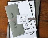 "Modern Silver, Black and Grey Wedding Invitations - ""Urban Elegance Gray"" Deposit"