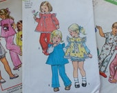 Three 1970s Size 2 Pattern Lot, 3 Girl's Sewing Patterns Pinafore Dress, Raggedy Ann Pajamas and Gown Simplicity and McCall's, One uncut