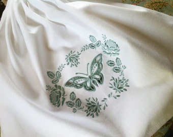 Vintage style Victorian Butterfly Cutwork  embroidered towel