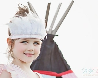 Vintage Shabby Chic Pink and White Rope Feather Headband Headdress Baby Child Girls