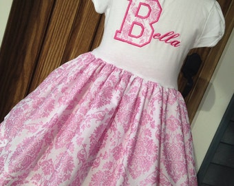 Girls Personalized Applique Name T Shirt Dress