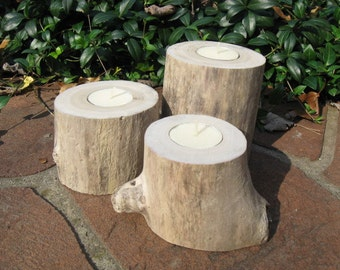 Driftwood CANDLE Holders Pillars Tealights Beach House Decor
