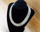 Vintage Necklace Mesh Silver Tone Wedding Bridal Party Prom Jewelry Jewellry Statement Gift for Her