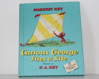 Curious George Flies A Kite - 1958 Children's Hardcover Book by Margaret Rey