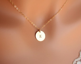 Gold initial disc necklace - 14k engraved personalized necklace, gifts for mom, mother, sister, wife, friendship necklace, birthday gift
