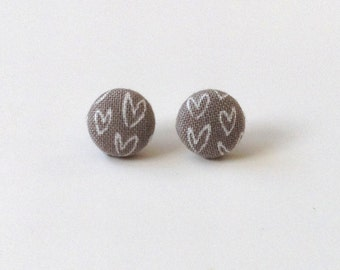Fabric Button Stud Earrings. Gray and White Hearts. Ready to Ship.