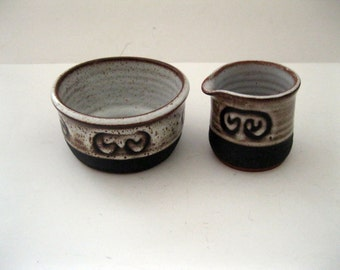 Tenby Pottery Sugar and Creamer Pembrokeshire Mottled Brown Beige Black Rustic Britain Glazed Redware Abstract w Spatter Art Pottery -FL