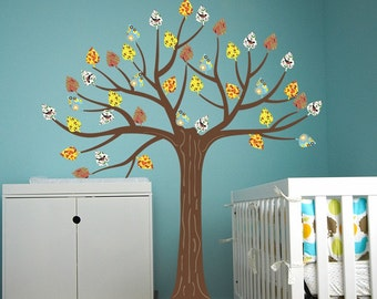 """Just Peel and Stick Baby Nursery Re-positionable Vinyl Tree Wall Decal - Autumn Tree (83"""" H) - Wall Decal Printed Pattern Leaves prt0026-3"""