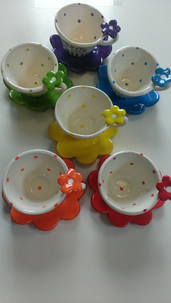 Items similar to little miss flower tea cup party favor on for Teacup party favors