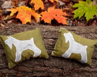 Organic Balsam Fir Sachets with Miniature Schnauzers, Set of Two, Gray and Moss Green