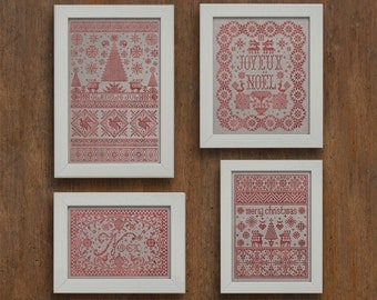 Christmas Pack - Four Original Christmas Patterns - Instant Download PDF Cross Stitch Embroidery Patterns