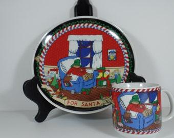 Vintage Dinnerware: Paddington Bear Child's Christmas Plate & Mug