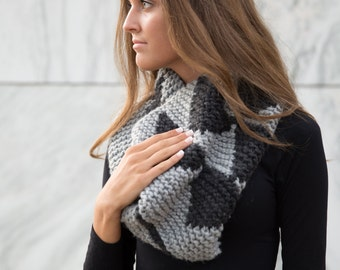 Grey and Charcoal Hand Knit Southwest/Navajo Inspired Infinity Scarf Tall